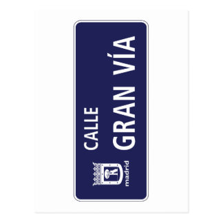 Calle Gran Víaのマドリードの道路標識、スペイン ポストカード