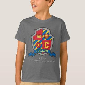 Callumの男の子Cの名前及び意味は盾をナイト爵に叙します Tシャツ