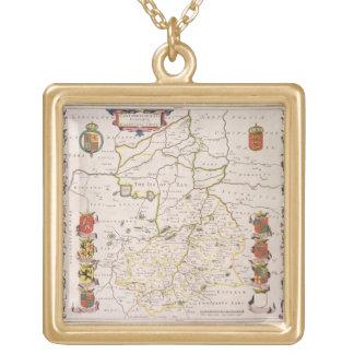 Cambridgeshireの地図、出版されたアムステルダムc.1647- ゴールドプレートネックレス