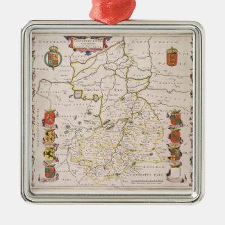 Cambridgeshireの地図、出版されたアムステルダムc.1647- メタルオーナメント