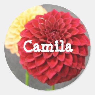 Camilaの赤いフラワー・ガールの名前のラベルのステッカー ラウンドシール