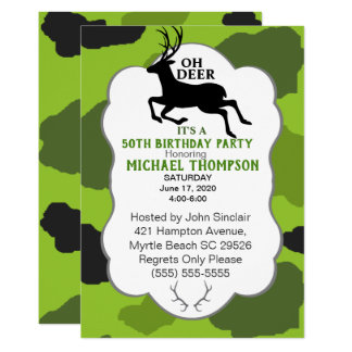 Camo and Deer 50th Birthday Party カード
