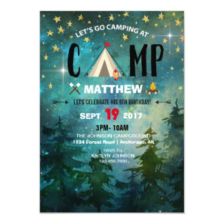 Camping Night Time Forest Wilderness Birthday カード