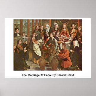 Canaの結婚。 Gerardデイヴィッド著 ポスター