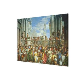 Cana、c.1562 (キャンバスの油)の結婚の饗宴 キャンバスプリント