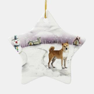 Canaan犬のクリスマスのオーナメント セラミックオーナメント