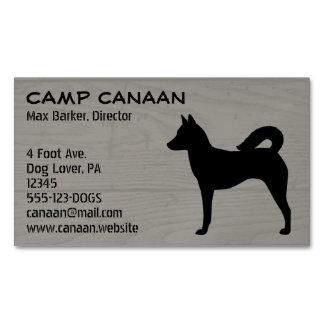 Canaan犬のシルエット木穀物 マグネット名刺 (25枚パック)