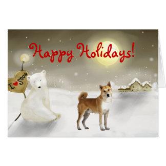Canaan犬の休日カード グリーティングカード