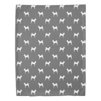 Canaan犬はパターン灰色のシルエットを描きます 掛け布団カバー