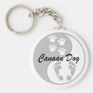 Canaan犬 ベーシック丸型缶キーホルダー