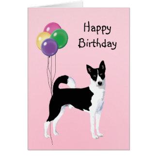 Canaan犬、誕生日の気球 グリーティングカード