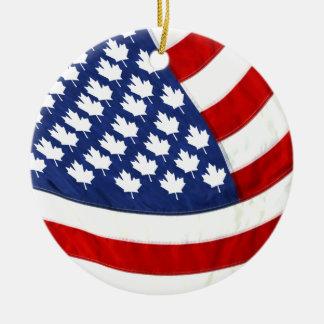 Canadian / American Waving Flag セラミックオーナメント