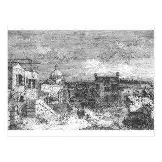 Canaletto著ベニスの想像眺め ポストカード