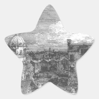 Canaletto著ベニスの想像眺め 星シール