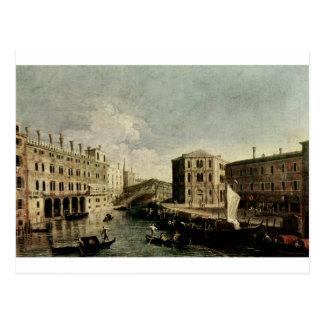 Canaletto著Rialtoの大運河 ポストカード