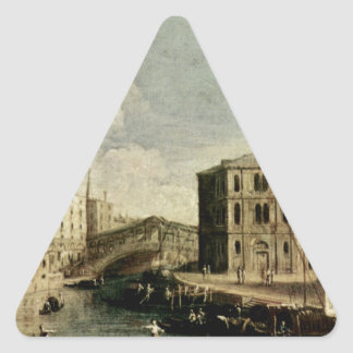 Canaletto著Rialtoの大運河 三角形シール