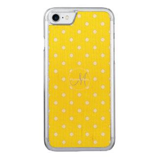 Canary Yellowおよび白い水玉模様。 名前 Carved iPhone 8/7 ケース
