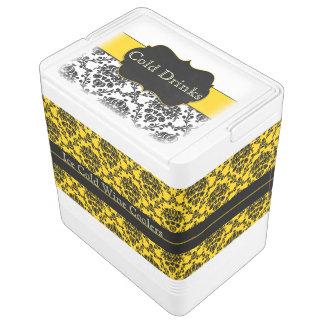 Canary Yellowおよび黒いダマスク織のイグルーのワインクーラー クールボックス