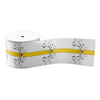 Canary Yellowおよび黒い線条細工のリボンのデザイン グログランリボン