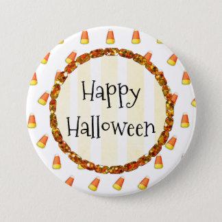 Candy Corn Happy Halloween Button 7.6cm 丸型バッジ