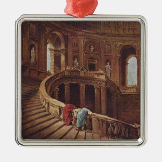 Caprarolaの宮殿の階段 シルバーカラー正方形オーナメント