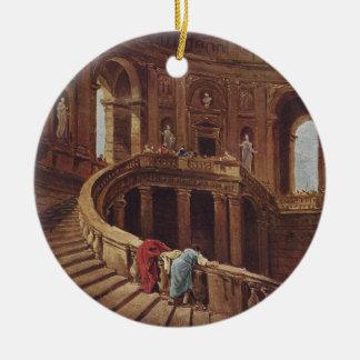 Caprarolaの宮殿の階段 陶器製丸型オーナメント