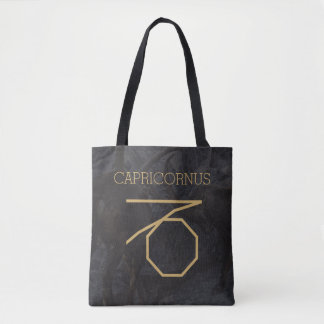 Capricornusの(占星術の)十二宮図の印|のカスタムな背景 + 文字 トートバッグ