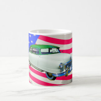Car 1950年Nashの大使および米国旗 コーヒーマグカップ