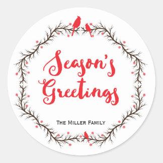 Cardinal Season's Greetings Sticker ラウンドシール