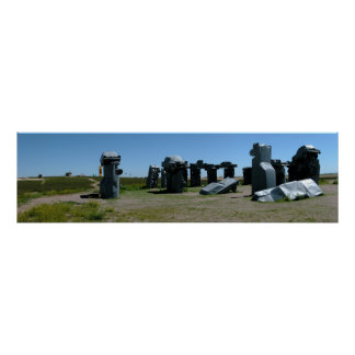Carhenge、ネブラスカパノラマ式の2 ポスター