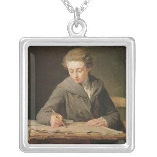 Carle Vernet 1772年、若いdraughtsman シルバープレートネックレス