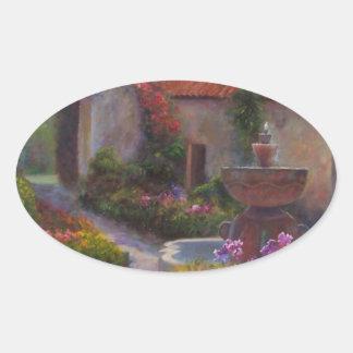 Carmelの代表団の噴水そして庭 楕円形シール