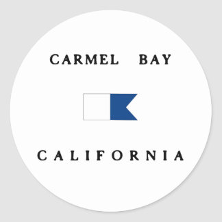 Carmel湾カリフォルニアアルファ飛び込みの旗 丸型シール