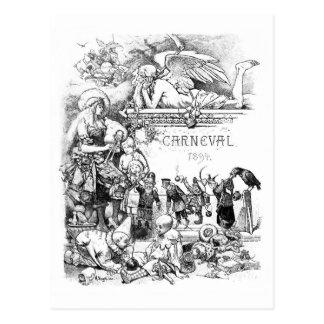 Carnevalの1894年のヴィンテージの郵便はがき ポストカード