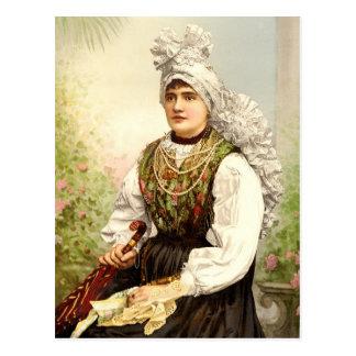 Carniola、Austroハンガリーの天然衣裳の女の子 ポストカード