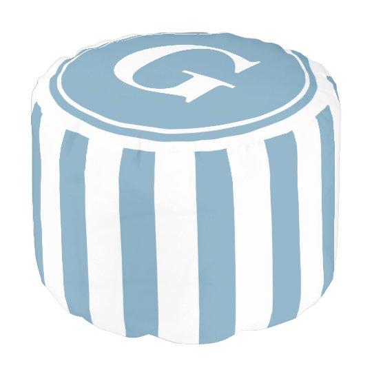 Carolina Blue and White Stripes Monogram プーフ