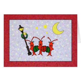CarolingのCrawfish/ロブスターのトリオのクリスマスカード カード