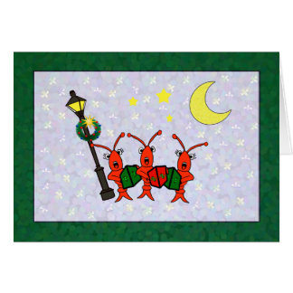 CarolingのCrawfish/ロブスターのトリオのクリスマス(緑) カード