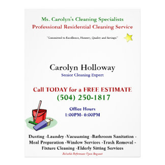 Carolyn Hollowayのサンプルフライヤクリーニングサービス 21.6cm X 27.9cm チラシ