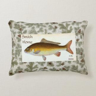 Carp Fish Pinecones Throw Pillow アクセントクッション