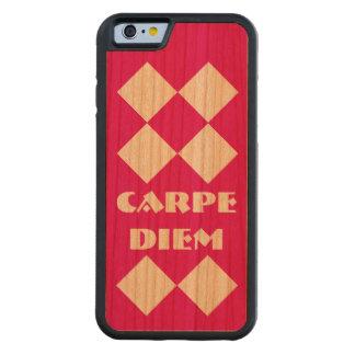 Carpe Diemのダイヤモンドのショッキングピンクのさくらんぼ木 CarvedチェリーiPhone 6バンパーケース