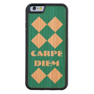 Carpe Diemのダイヤモンドのティール(緑がかった色)のさくらんぼ木 CarvedチェリーiPhone 6バンパーケース