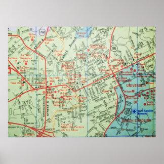 CarrboroおよびChapel HillのNCのヴィンテージの地図ポスター ポスター
