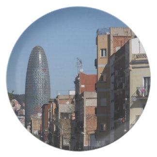 Carrer deバダホスおよびTorre Agbar、バルセロナ プレート