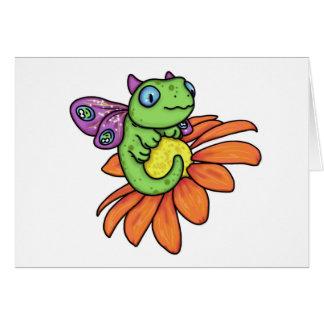 Carrieミハエル著ベビーの妖精のドラゴンそしてヒマワリ カード