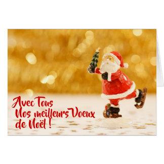 Carte de Voeux Père Noël patinant カード