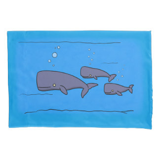cartoon whales pillow case 枕カバー