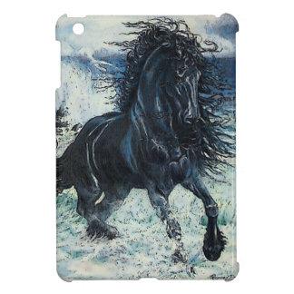 """cartooned """"Friesian嵐""""の黒の種馬の馬 iPad Miniケース"""