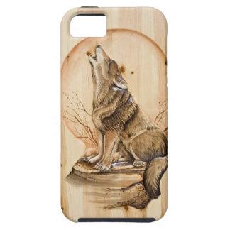 carved木製のiPhone 5の場合の遠ぼえのオオカミ iPhone SE/5/5s ケース