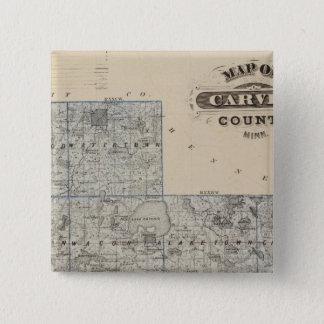 Carver郡、ミネソタの地図 5.1cm 正方形バッジ